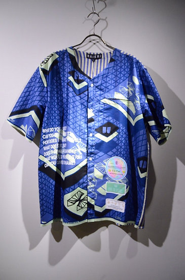 Haik w/  hering stripe WAX Print Baseball Shirts Made in Ghana ハイク ベースボールシャツ