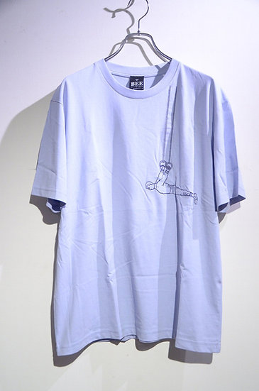BEE Outerwear Hangman Embroiled T-shirt BLUE Made in UK ビーアウタ-ウェア 刺繍 Tシャツ