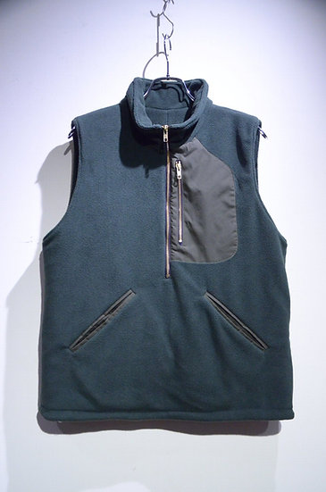 BEE Outerwear BOA FLEECE VEST GREEN Made in London ビーアウターウェア ボアフリースベスト