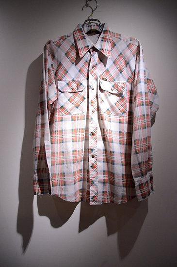 リー チェック シャツ 夏物 70s カジュアル アメリカ製 ウエスタン スナップボタン スコビル