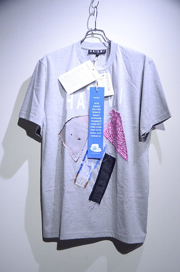 HAiK w/ Patch Work Design T shirt Large Made in Lithuania ハイク ウィズアス  パッチワーク Tシャツ