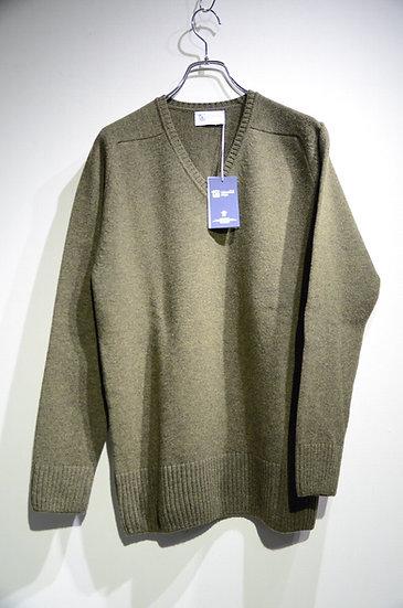 Johnstons Vneck Knit Merino Cashmere Green Made in Scotland ジョンストンズ カシミア混 ニット