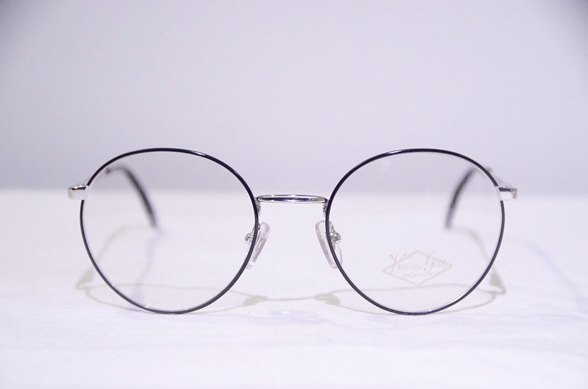 DEADSTOCK 80 - 90's Vintage Round Glasses Made in England BLACK ヴィンテージ 眼鏡 イギリス製