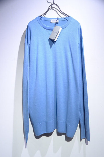 John Smedley MARKEATON PULLOVER BLUE Made in UK ジョンスメドレー プルオーバー クルーネックニット