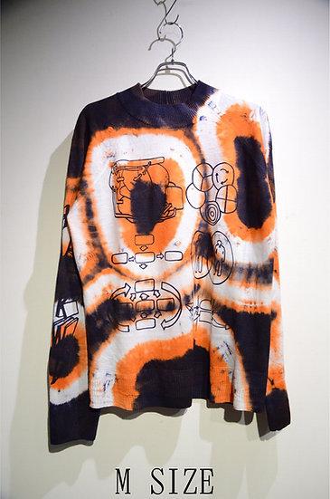 Haik w/ mock turtle Tie-dye Print Knit ORG Made in lithuania ハイク モックネック プリントニット