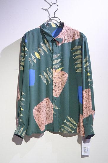 TESSUTI SCOTLAND Screen Print Silk Shirt GRN Handmade in SCOTLAND ハンドメイド シルクシャツ