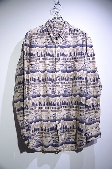 Used 00s Woolrich Print Flannel Shirt Made in Turky ウールリッチ フィッシュ プリント フランネルシャツ