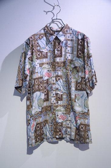 Used 80's Reyn Spooner Egyptian Cotton Shirt Made In Hawaiian レインスプーナー ハワイアンシャツ