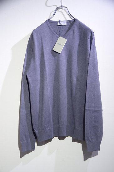 John Smedley Aydon Long Sleeve Vneck Cotton Knit GRY Made in UK ジョンスメドレー Vネックニット