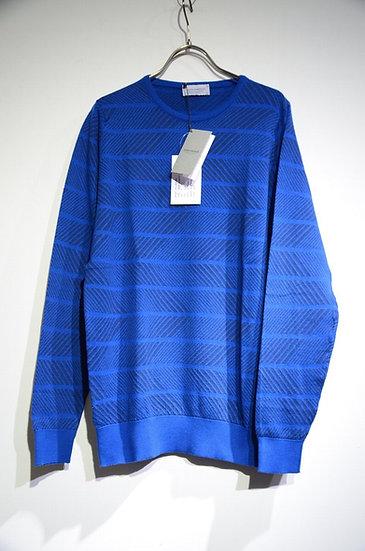 John Smedley Roose Jacquard Blue Pullover Cotton knit ジョンスメドレー柄ニット