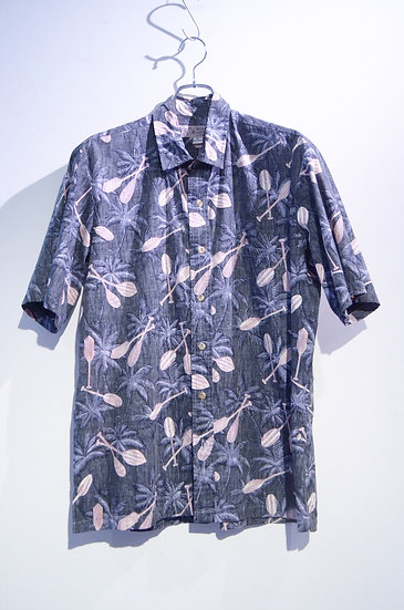 USED 90's Island Traditions Tree Print Shirt Made In Hawaii ヴィンテージ リバースプリント シャツ