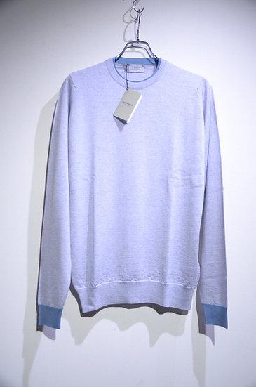 John Smedley Two-tone Blue Grey Long Sleeve Knit Made in U.K. ジョンスメドレー ロングスリーブT