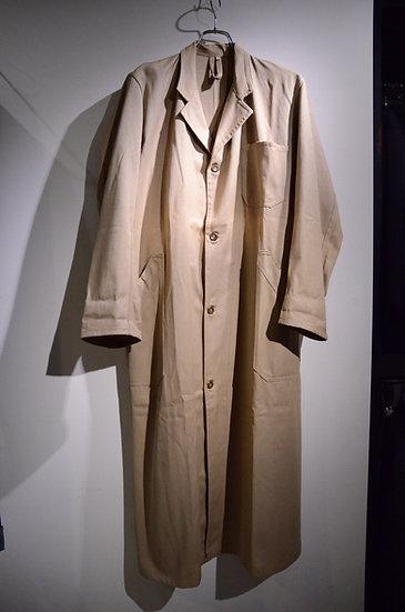 ヴィンテージ リネンコットン フレンチワークジャケット コート ロング