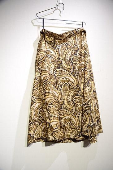 70s Gor-Ray Womens Paisley Long Skirt Gold Brown made in UK イギリス製 ペイズリー ロングスカート