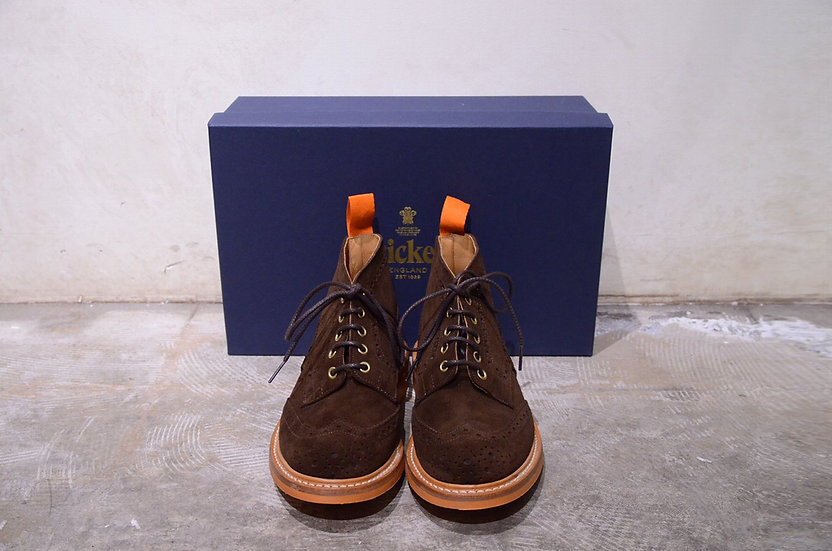 Tricker's Jimmy Chocolate Suede Boots Made in Englandトリッカーズ スウェード ジミー 5ホールブーツ