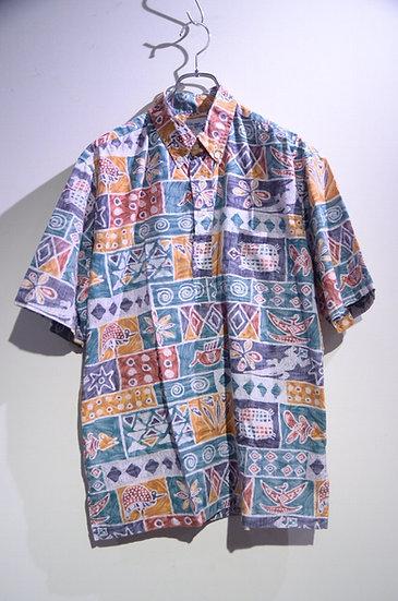 Used 90's Reyn Spooner Tribal Print Shirt Made In Hawaii レインスプーナー プルオーバーシャツ