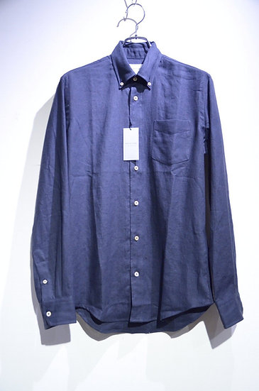 Tripl Stitched B.D. Linen Shirs NAVY Made in London トリプルステッチ ボタンダウン リネンシャツ