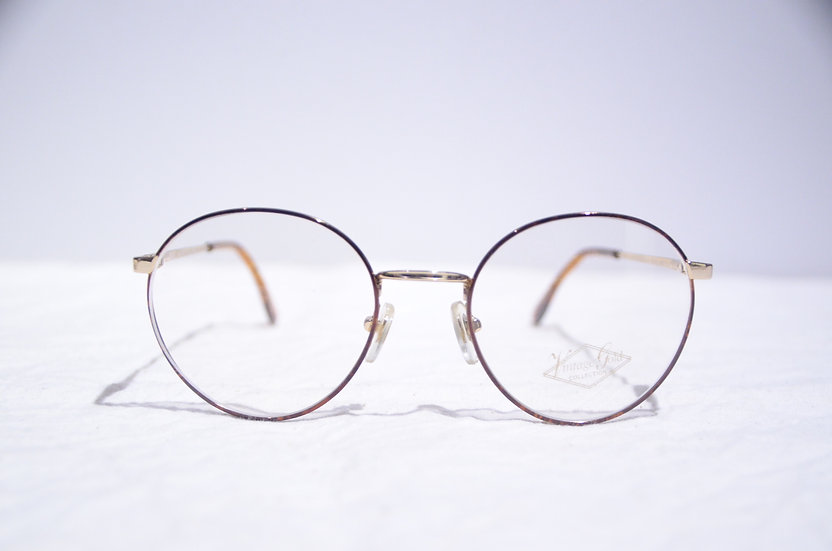 DEADSTOCK 80 - 90's Vintage Round Glasses Made in England Brown ヴィンテージ 眼鏡 イギリス製