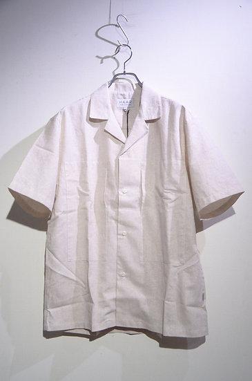 HAAR SCOTLAND Cotton Linen Camp Shirt Beige Made in Scotland ハースコットランド リネン 開襟シャツ