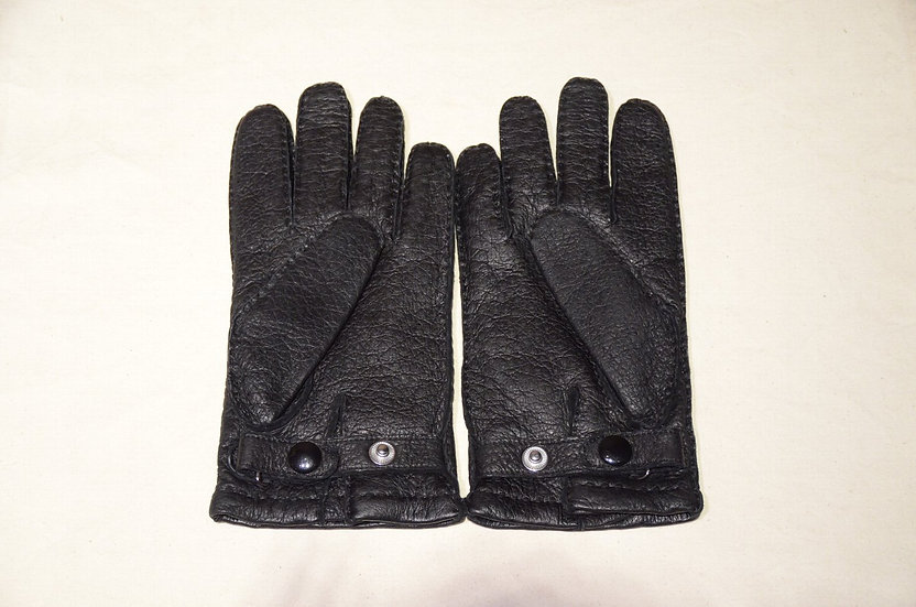 DENTS Peccary Leather Gloves Cashmere Lining BLACK made in UK デンツ ペッカリー レザーグローブ