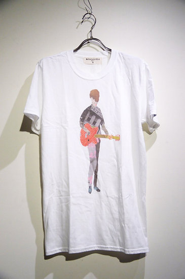 The old curiosity shop Guitar Print Tee shirt Made in UK オールドキュリオシティ ギター プリントT