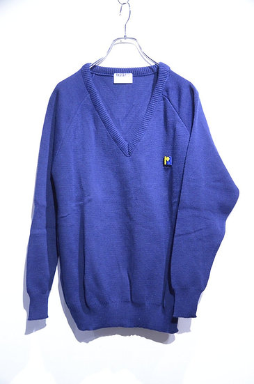 DEADSTOCK 60 - 80s School Acrylic V-neck Knit Made in England イギリス製 スクール Vネックニット