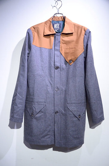 BEE Outerwear Wool Trench Coat Grey BROWN Made in London ビーアウターウェア ウールトレンチコート