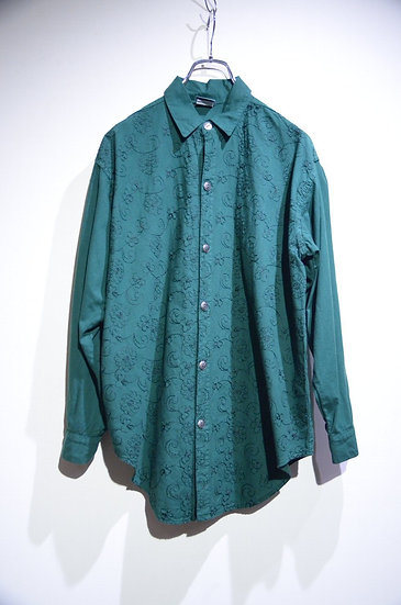 USED Vintage Cotton Flower Embroidery Shirts  Made In USA ヴィンテージ コットン 花刺繍 ドレスシャツ