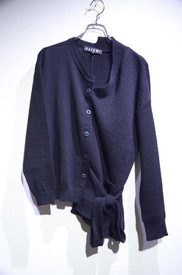 HAik w/ Indecisive Knit Black cardigan Made in Lithuania ハイクウィズアス アシンメトリー カーディガン