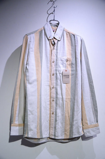 Grove & Co Cotton Rounded Collar B.D. Shirt Stripe Made in UK グローブ&コー ラウンド シャツ