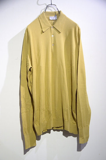 John Smedley BUXTON Long Sleeve Knit Polo Yellow Made in UK ジョンスメドレー ロングニットポロ
