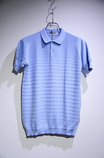 John Smedley Cotton Knit Polo ZUBER Light Blue ジョンスメドレー シーアイランドコットン ボーダーポロシャツ