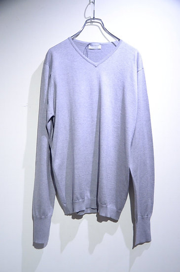 John Smedley Sea Island Cotton Hughes Tee Made in UK ジョンスメドレー Vネック 長袖 カットソー