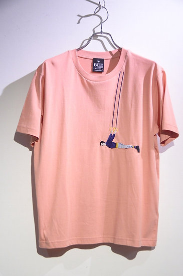 BEE Outerwear Hangman Embroiled T-shirt PINK Made in UK ビーアウタ-ウェア 刺繍 Tシャツ