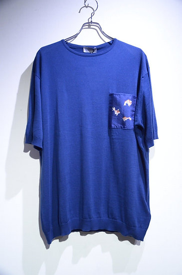 John Smedley Sea Island Cotton Golden Fish Tee Indigo ジョンスメドレー 金魚プリント Tシャツ