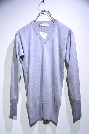John Smedley Cashmere Silk V-neck Knit BERGAMO Gray ジョンスメドレー シルクカシミア Vネックニット