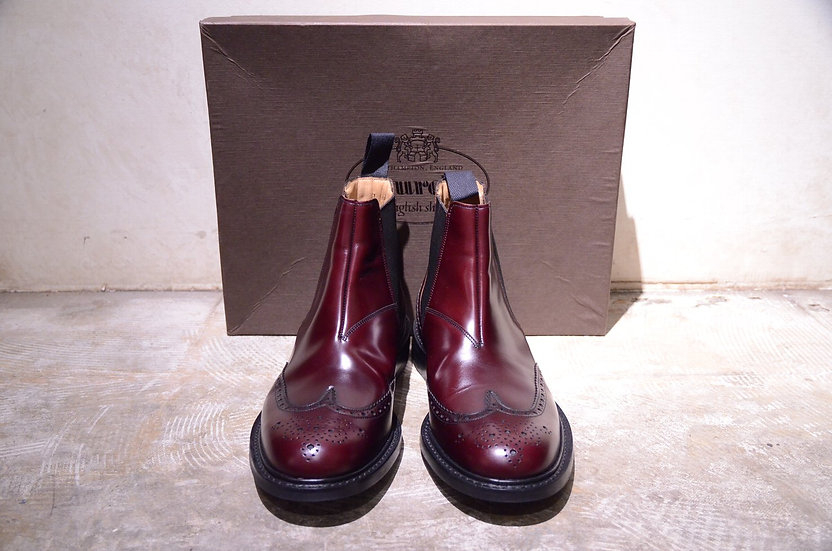 Churchs Cransley Side-Goa Boots Burgandy Made in England チャーチ ガラスレザー サイドゴアブーツ