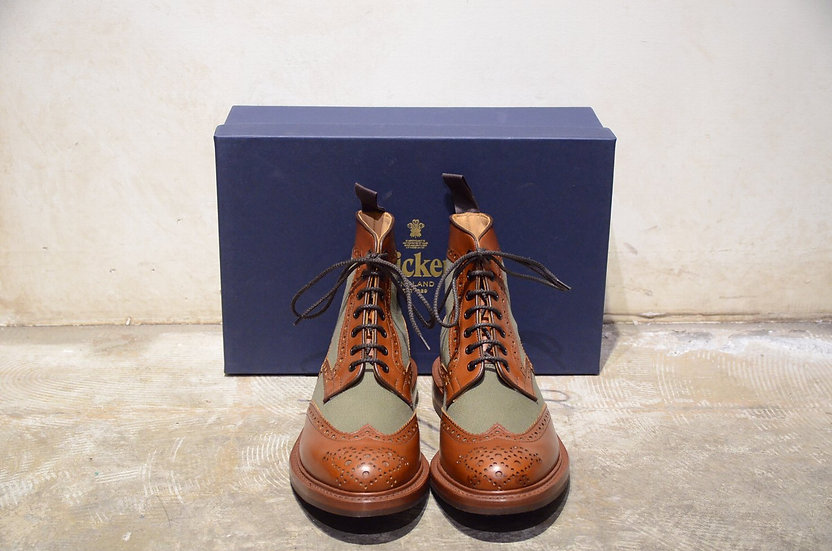Tricker's Kelmscott Two Tone Brouge Boots Made in England トリッカーズ レザー キャンバス ブーツ