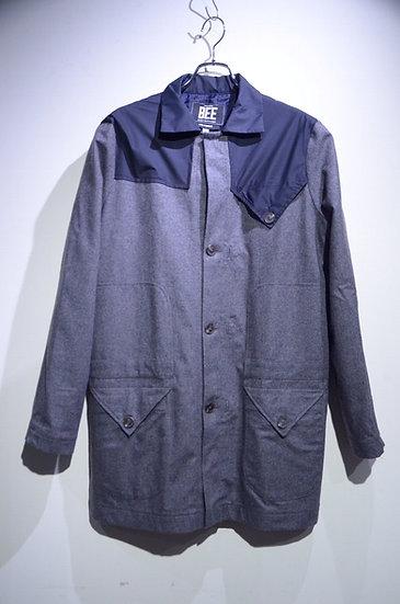BEE Outerwear Wool Trench Coat Grey NAVY Made in London ビーアウターウェア ウールトレンチコート