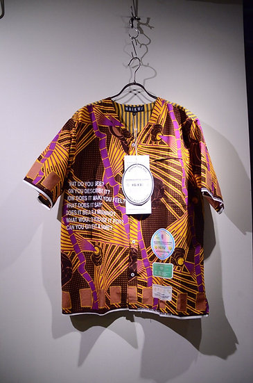 Haik w/ Poggendolf stripe WAX Print Baseball Shirts Made in Ghana ハイク ベースボールシャツ