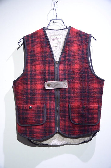 Used Vtg 80 - 90s Woolrich Wool Boa Vest Made in USA ウールリッチ バッファローチェック ボアベスト