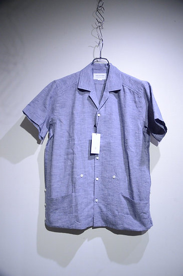 Tripl Stitched Cuban Shirt Gray Navy Made in London トリプルステッチ キューバシャツ