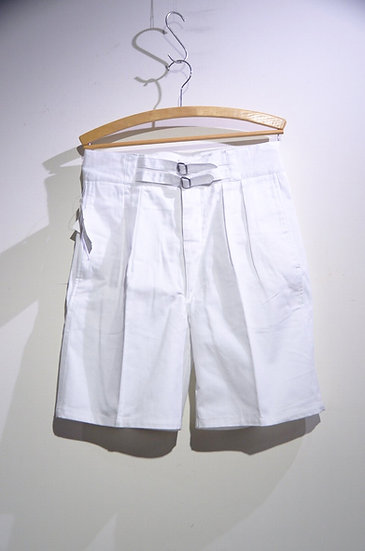 DEADSTOCK 80s Commando Australia Cotton Twill Belt Shorts WHT オーストラリア軍レプリカ ショーツ