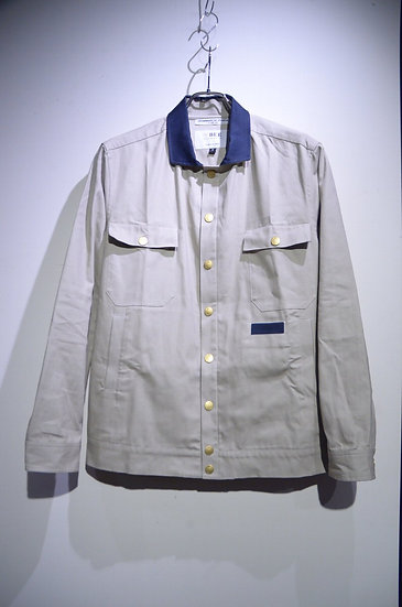 BEE Outerwear Canvas Overshirt Jacket Stone Made in UK ビーアウターウェア キャンバス シャツジャケット