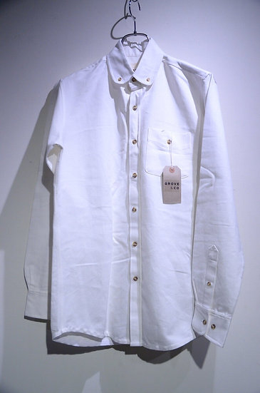 Grove & Co Cotton Rounded Collar B.D. Shirt MED Made in UK グローブ&コー ラウンドカラー シャツ