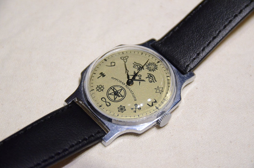 60s~ Vintage Masonic Wrist Watch White Dial A Made in USSR  フリーメイソン 腕時計 ソビエト製