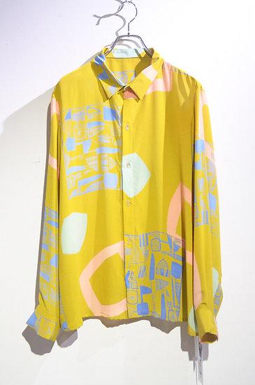 TESSUTI SCOTLAND Screen Print Silk Shirt YLW Handmade in SCOTLAND ハンドメイド シルクシャツ