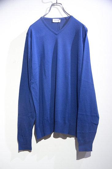 John Smedley Aydon Long Sleeve Vneck Cotton Knit NVY Made in UK ジョンスメドレー Vネックニット