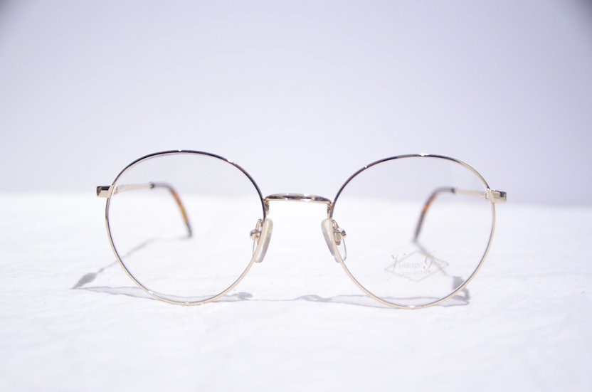 DEADSTOCK 80 - 90's Vintage Round Glasses Made in England Gold ヴィンテージ 眼鏡 イギリス製