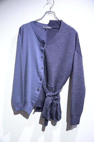 HAik w/ Indecisive Knit GRAY cardigan Made in Lithuania ハイクウィズアス アシンメトリー カーディガン